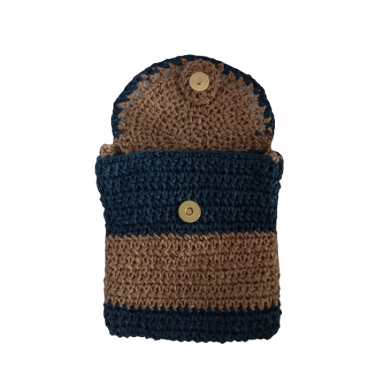 Hand Knitted Covered Plug-and-Exit Straw Bag Yellow