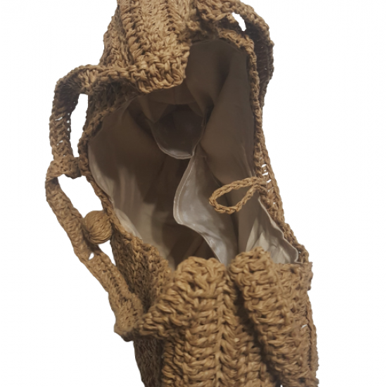 Hand Knitted Drop Straw Sleeve Bag