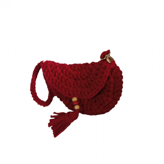 Handmade Covered Mini Combed Cotton Bag Red