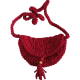 Handmade Covered Mini Combed Cotton Bag Red Long Strap