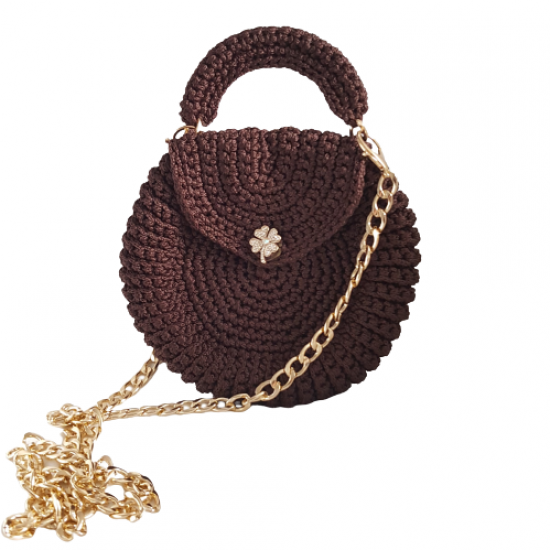 Handmade Round Cover Bag Brown